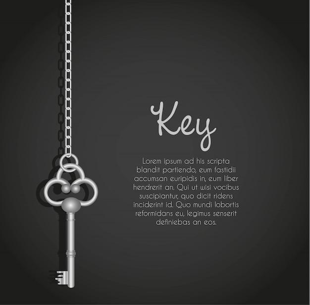 Stare klucze z łańcuchem link czarny z tekstem Premium Wektorów