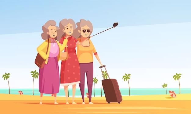 Stare kobiety bierze fotografii selfie ilustrację Darmowych Wektorów