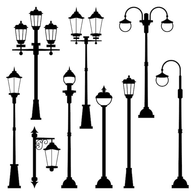 Stare Lampy Uliczne W Stylu Monochromatycznym. Ilustracje Izolują. Miejska Latarnia Uliczna Classic Premium Wektorów