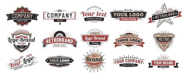 Stare Odznaki Vintage Znak, Odznaka Retro Premium I Zestaw Ramek Godło Logo Premium Wektorów