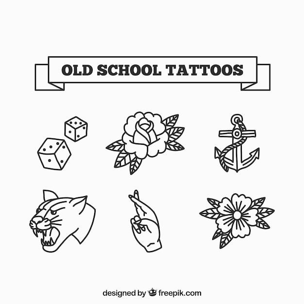 Stare Szkolne Tatuaż Kolekcji Darmowych Wektorów