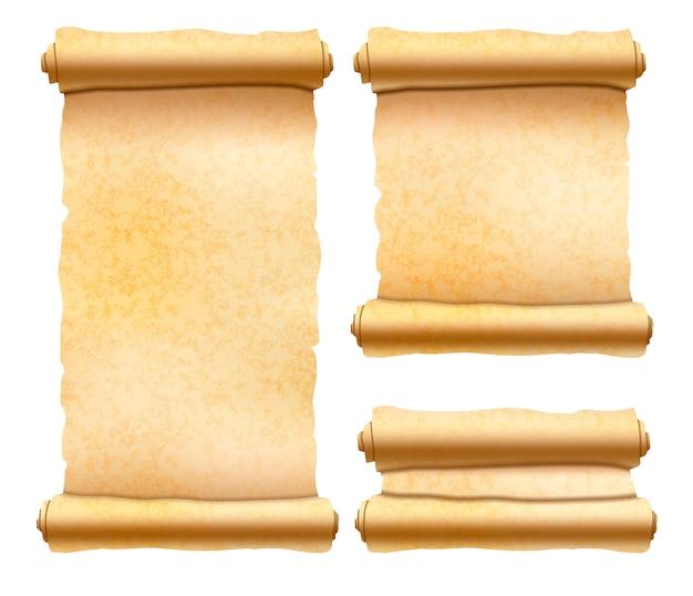 Stare teksturowane zwoje papirusu Premium Wektorów