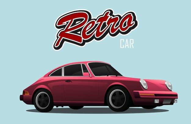 Staromodny Samochód. Czerwony Samochód Sportowy. Ze Znakiem Samochód Retro. Premium Wektorów
