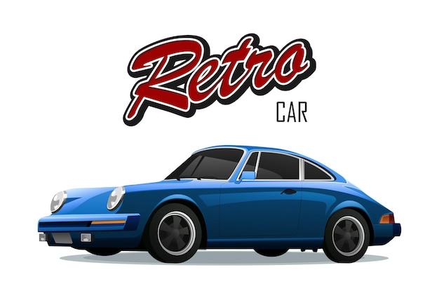 Staromodny Samochód. Samochód Sportowy. Ze Znakiem Samochód Retro. Premium Wektorów