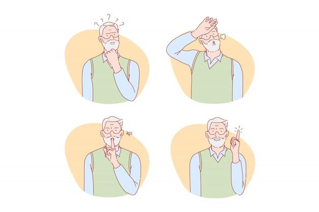 Starość, Myślenie, Pomysł, Cisza, Ulga Zestaw Ilustracji Premium Wektorów