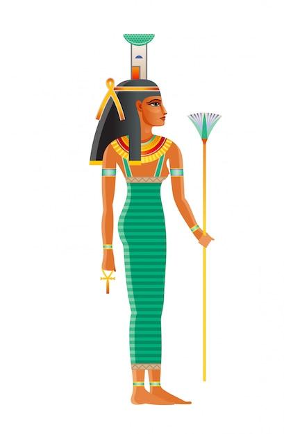 Starożytna Egipska Bogini Nefthys. Bóstwo żałoby, Noc / Ciemność, Poród, Martwa Ochrona, Magia, Zdrowie, Balsamowanie. Stara Sztuka Historyczna Z Egiptu Premium Wektorów