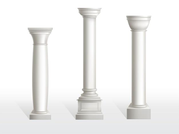 Starożytne kolumny ustawione na białym tle. Darmowych Wektorów