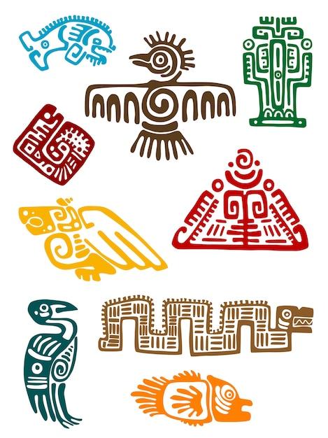 Starożytne potwory majów Premium Wektorów