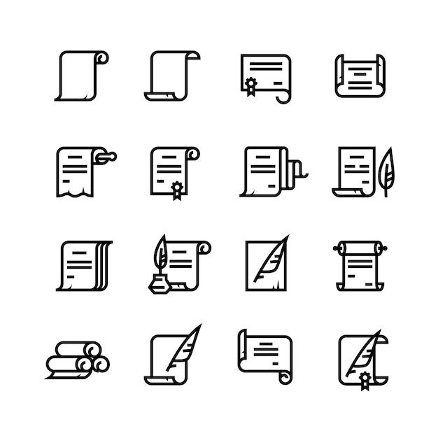 Starożytne zwoje papieru i ikony dokumentów. proste symbole dyplomu Premium Wektorów