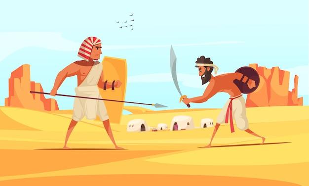 Starożytni Wojownicy Walczą Na Pustyni Z Bronią Płaską Darmowych Wektorów