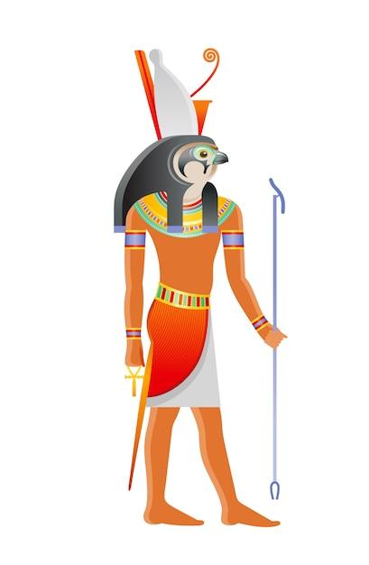 Starożytny Egipski Bóg Horus. Bóstwo Z Głową Sokoła I Koroną Faraona. Ilustracja Kreskówka W Starym Stylu Sztuki. Premium Wektorów