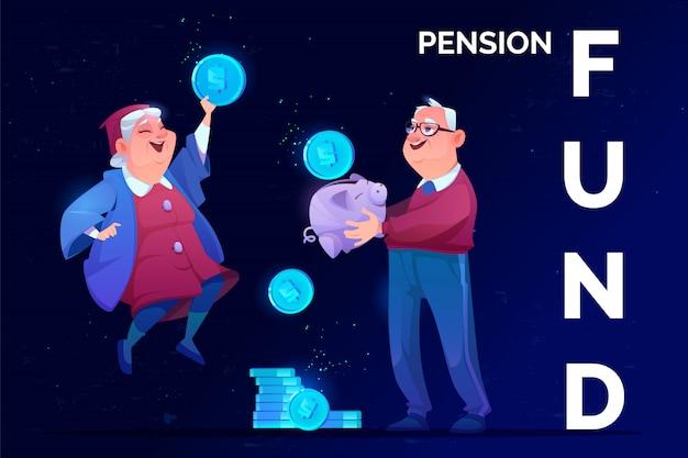 Starsi dziadkowie otrzymują bezpieczeństwo emerytalne na przyszłość Darmowych Wektorów