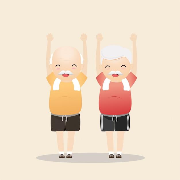 Starsi ludzie ćwiczy ilustrację Premium Wektorów