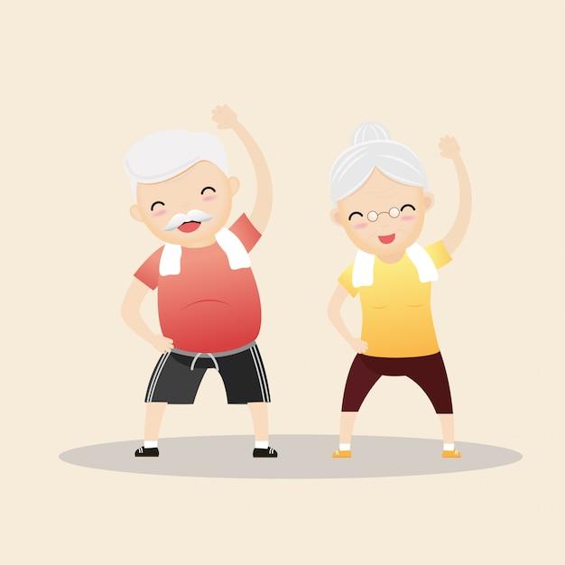 Starsi ludzie ćwiczy pojęcie. Premium Wektorów