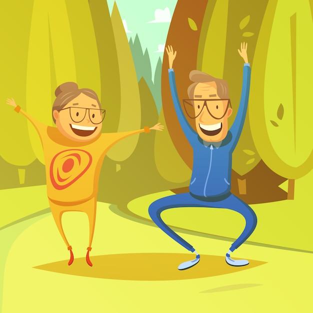 Starsi ludzie i gimnastyki tło z lasem i polem Darmowych Wektorów