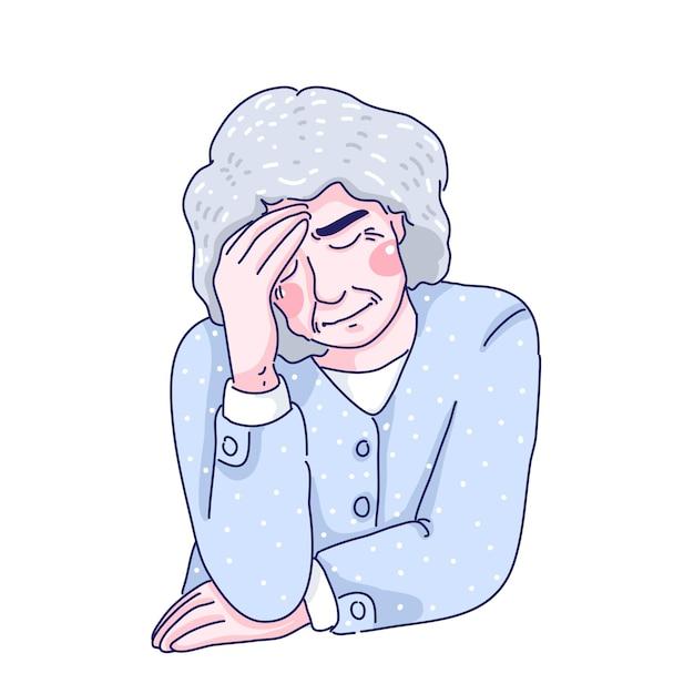 Starsza Kobieta Ilustracja Kreskówka Projekt Premium Wektorów