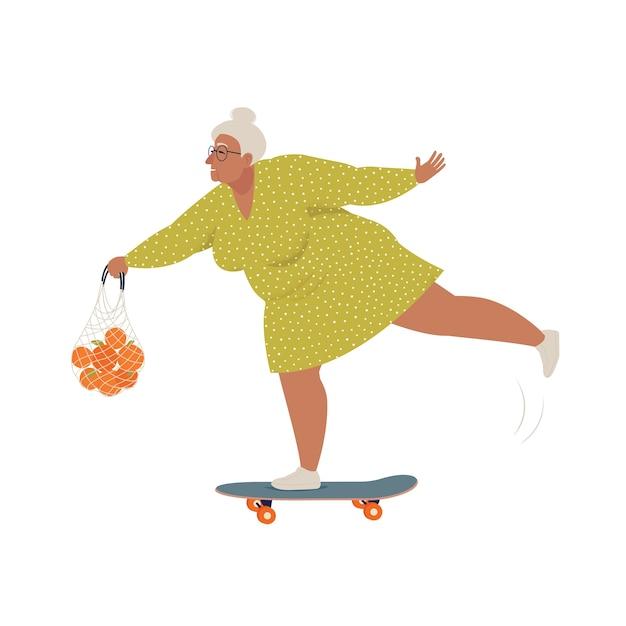Starsza Kobieta Jeździ Na Deskorolce Lub Longboardu Z Torbą Na Zakupy Premium Wektorów