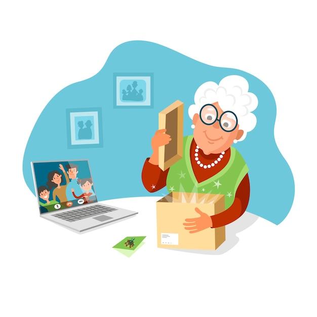 Starsza Kobieta Otwiera Paczkę Od Swoich Dzieci. Wysyłaj Prezenty Swoim Rodzicom, Zostań W Domu. Premium Wektorów