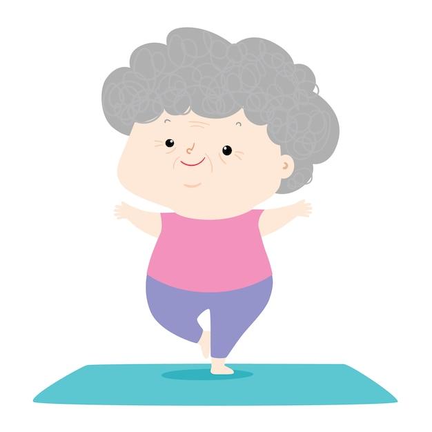 Starsza Kobieta Robi Joga, Babcia Charakter Robi Ranek ćwiczeniom Ilustracyjnym Premium Wektorów