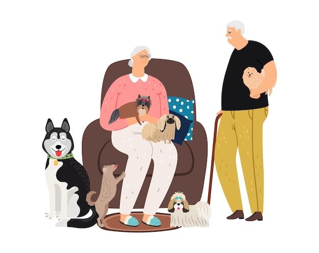 Starsza Para I Zwierzęta. Babcia Dziadek Z Różnymi Szczeniakami Premium Wektorów