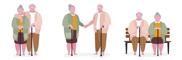 Starszej pary ilustraci grubaska charakter Premium Wektorów