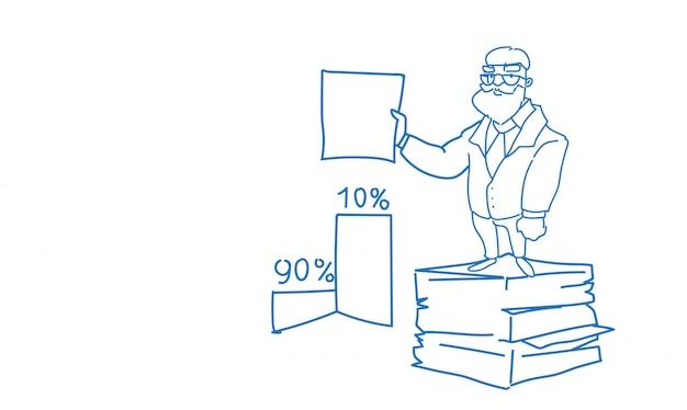 Starszy biznesmen ułożone papierowe dokumenty papierowe trzymać umowy podpisać szkic doodle Premium Wektorów