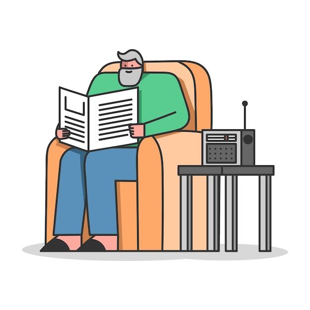 Starszy Mężczyzna Czyta Gazetę Słucha Radia Siedząc W Fotelu Premium Wektorów