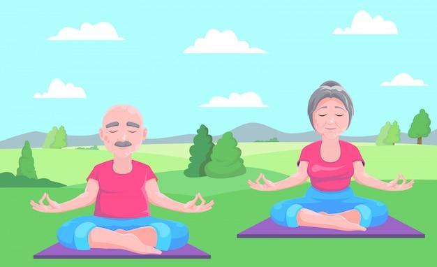 Starszy mężczyzna i kobieta medytuje siedząc na dywanie. ilustracja wektorowa. Premium Wektorów