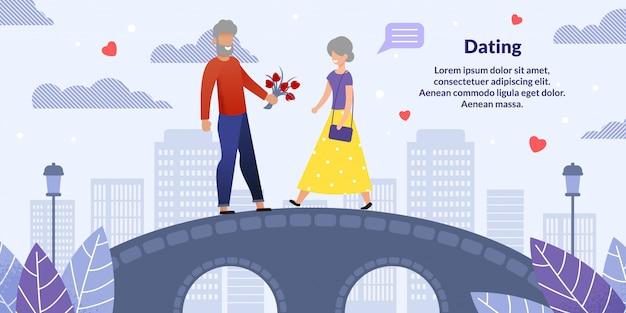 Starszy mężczyzna i kobieta na romantyczne randki mieszkanie Premium Wektorów