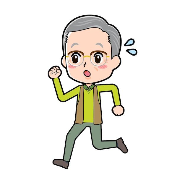 Starszy Mężczyzna Z Gestem Run. Postać Z Kreskówki. Premium Wektorów