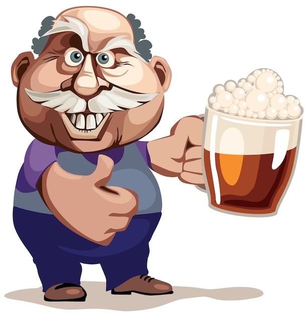 Starszy Mężczyzna Ze Szklanką Piwa. Cmyk Uporządkowane Według Warstw Gradienty Wolne Premium Wektorów