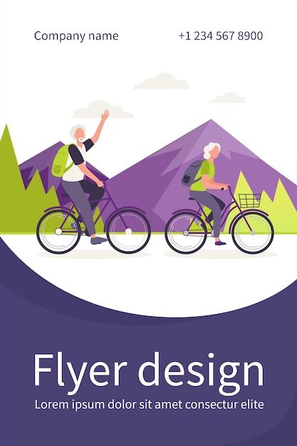 Starszy Para Jedzie Na Rowerach Na Zewnątrz Darmowych Wektorów