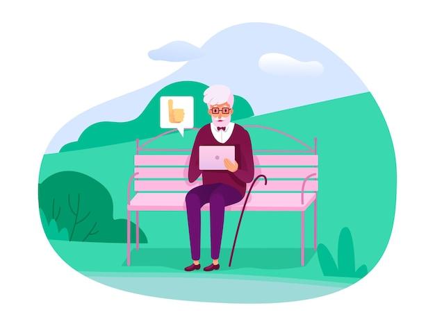 Starszy Staruszek Siedzi Na ławce W Miejskim Parku Na świeżym Powietrzu I Daje Pozytywne Opinie W Mediach Społecznościowych Premium Wektorów