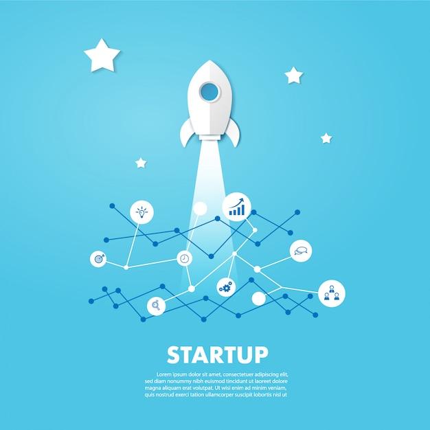 Start rakiety na błękitne niebo. projekt wektor w cięcia papieru. Premium Wektorów