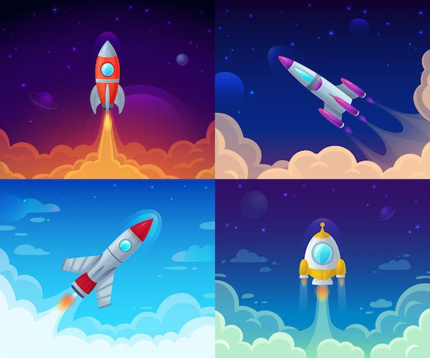 Start Rakiety. Podróż Kosmiczna, Galaxy Rakieta I Biznesplanu Sukces Zaczynamy Kreskówki Ilustrację Premium Wektorów