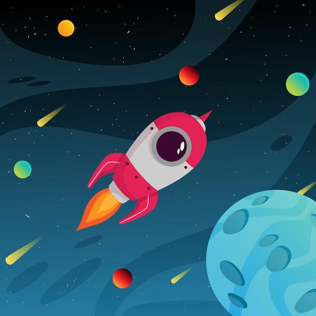 Startuje Kolorowa Galaktyka Kosmiczna Z Planetą I Rakietą Kosmiczną Premium Wektorów