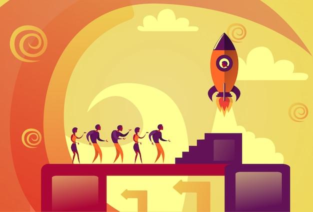 Startup launch business people rakieta kosmiczna flying new idea development concept Premium Wektorów