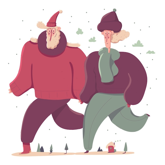 Staruszkowie W Zimowe Ubrania Postaci Z Kreskówek Ilustracji Premium Wektorów