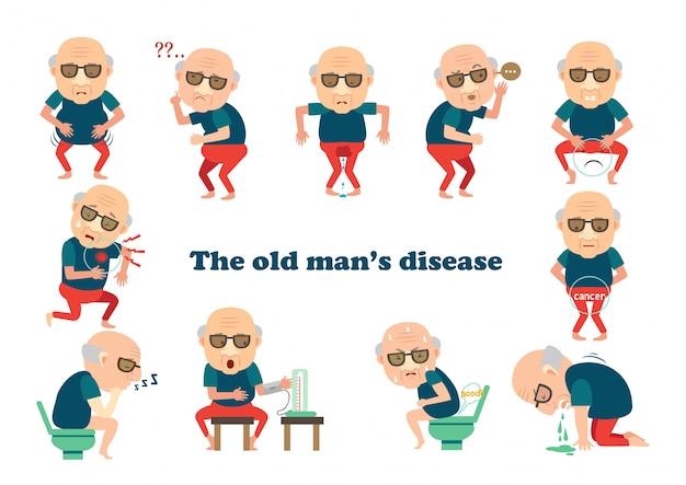 Stary człowiek chory. chory na bycie chorym Premium Wektorów