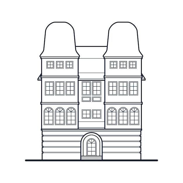 Stary dom ze sklepem na parterze. Premium Wektorów