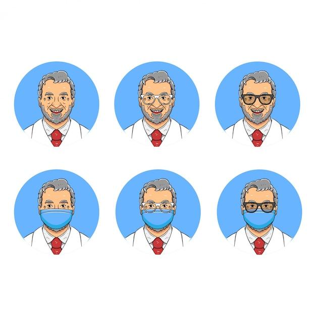 Stary Miły Lekarz Z Brodą Avatar Ilustracja Premium Wektorów