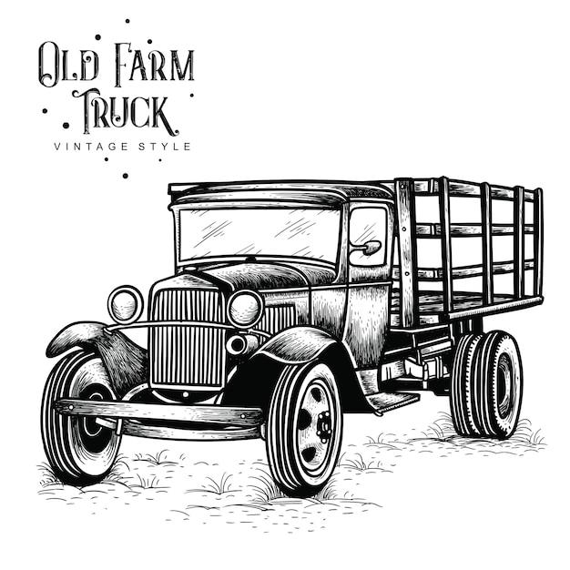 Stary Styl Vintage Ciężarówka Gospodarstwa Premium Wektorów
