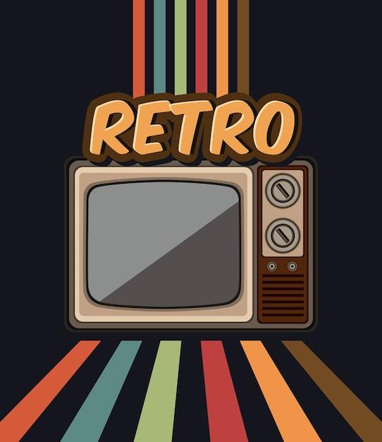 Stary Telewizor Retro W Projektowaniu Ilustracji Wektorowych Premium Wektorów