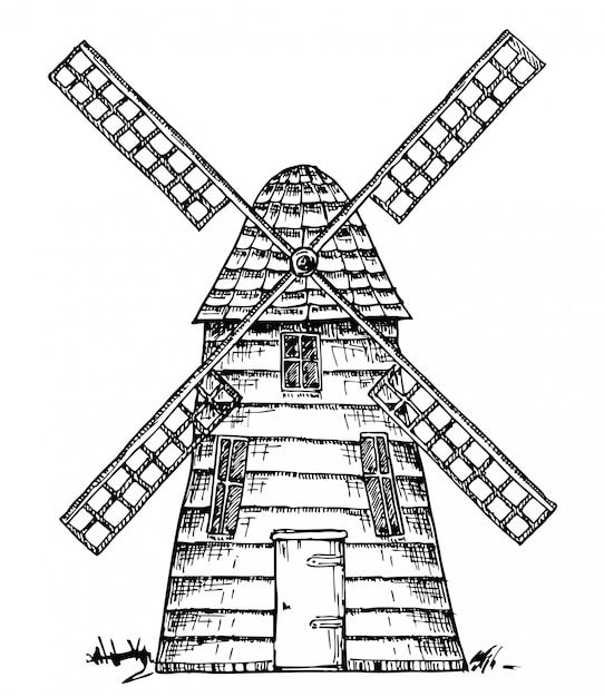 Stary wiatrak na białym tle Premium Wektorów