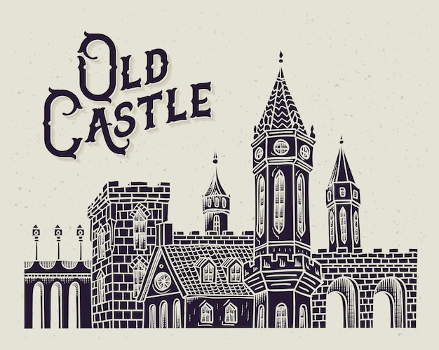 Stary Zamek Ilustracja Darmowych Wektorów