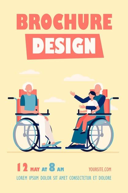 Starzy Ludzie Na Wózku Inwalidzkim, Trzymając Dziecko I Rozmawiając Szablon Ulotki Darmowych Wektorów