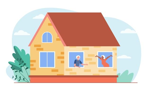 Starzy Ludzie Rozmawiają Przez Okna. Dom, Miłość, Emeryt Płaski Wektor Ilustracja. Komunikacja I Emerytura Darmowych Wektorów