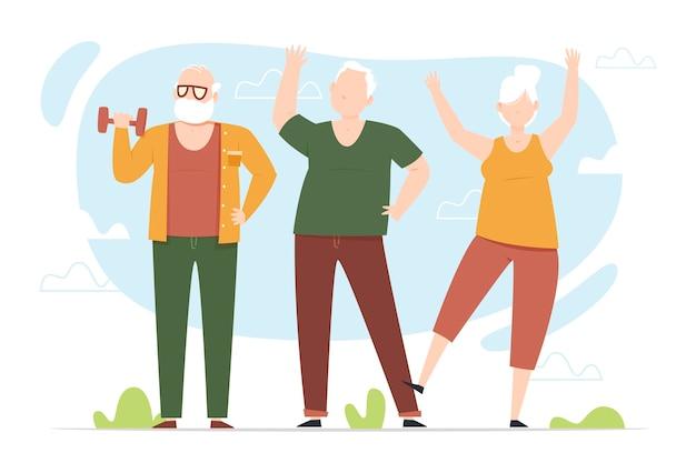 Starzy Ludzie Uprawiają Sport Premium Wektorów