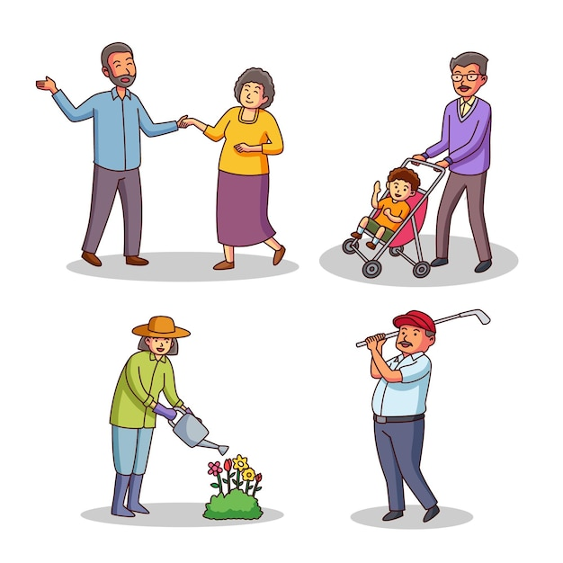 Starzy Ludzie Wykonujący Różne Czynności Darmowych Wektorów