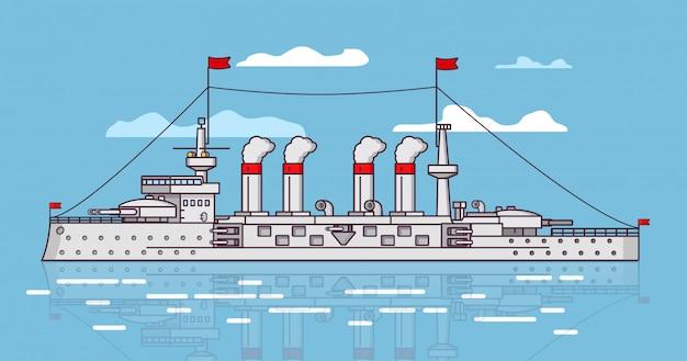 Statek Bitewny Na Parę Premium Wektorów